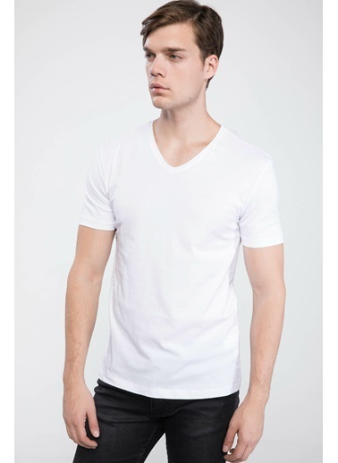 DeFacto Slim Fit V Yaka Basic T-shirt Beyaz